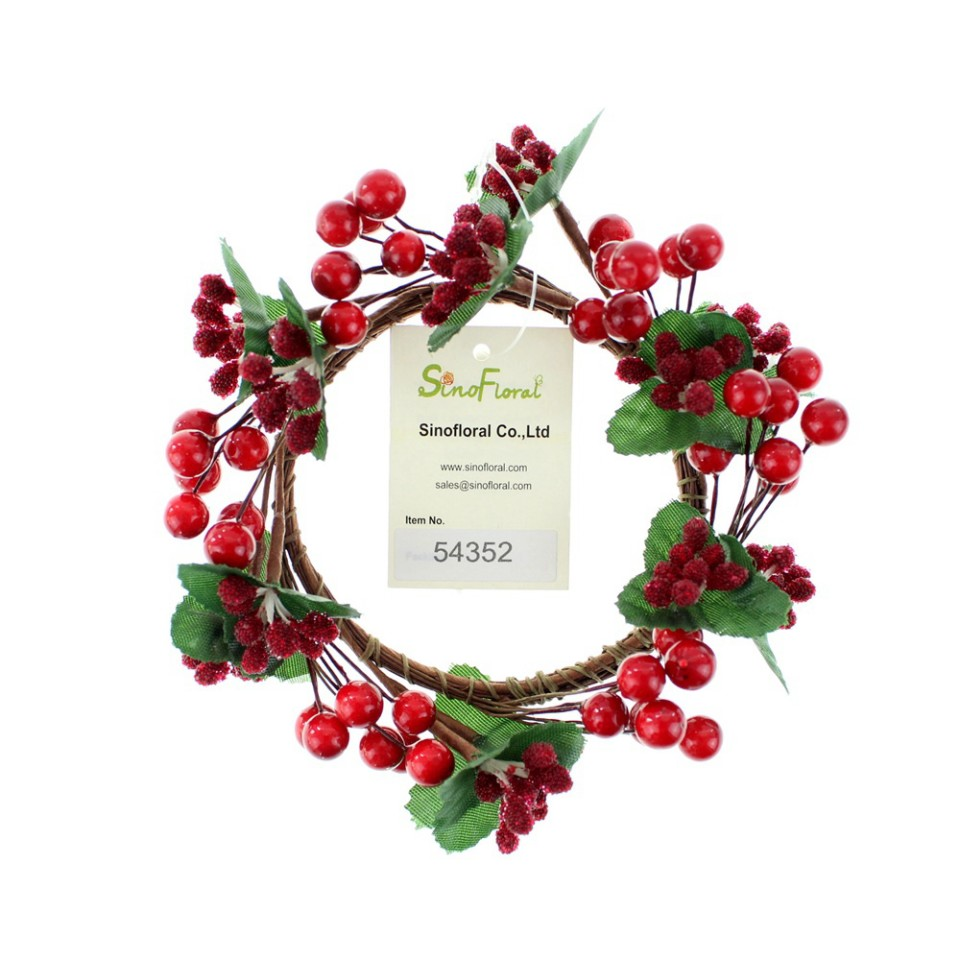 artificial berry candle ring wholesale 54352 - Decorative Christmas Candle Rings