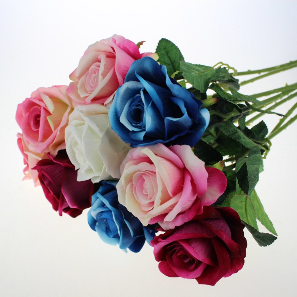 High quality artificial silk flowers wholesale from china royal blue real touch silk roses wholesale 60003 mightylinksfo