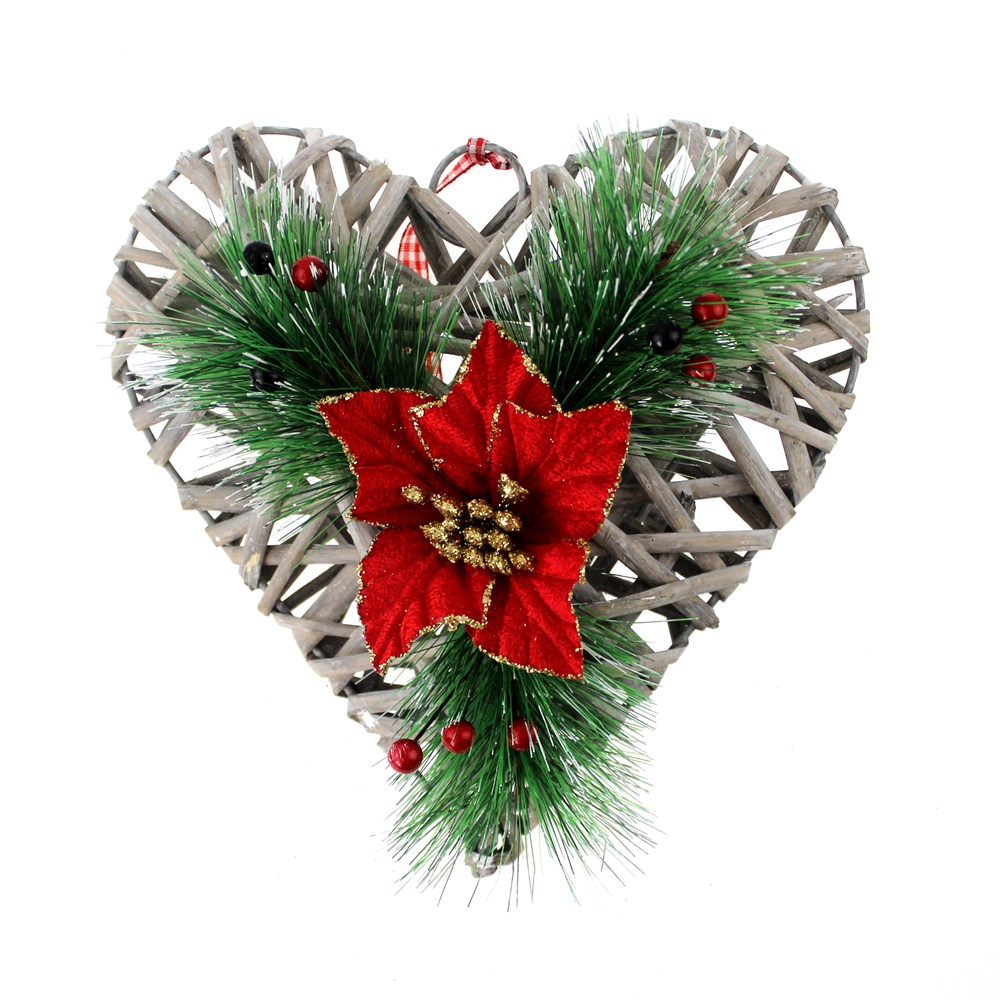 Rattan heart hanging wreath